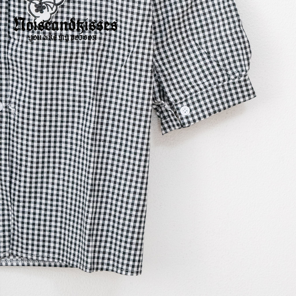 Flower Embroidery Collar Check S/S Shirt