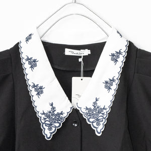 Embroidery Collar S/S Top (Black)