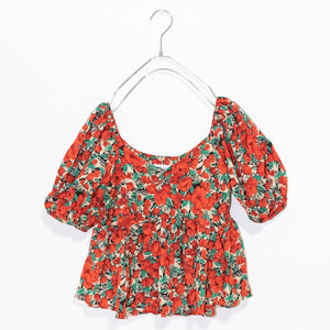 Flower Peplum Top (Red)