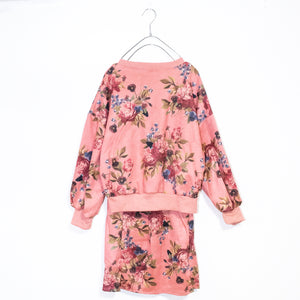 Flower Sweatshirt And Skirt Set (Pink)