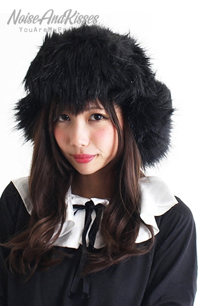Fake Fur Volume Russian Hat (Black)