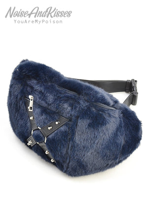 Drug Honey Cross Harness Fur Waist Bag (Navy)