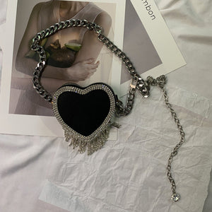 Rhinestone Heart Bag Chain Belt (Black)