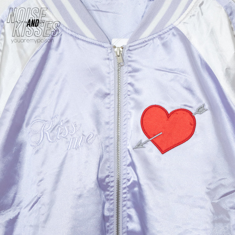 Heart Embroidery Souvenir Jacket (Lavender)