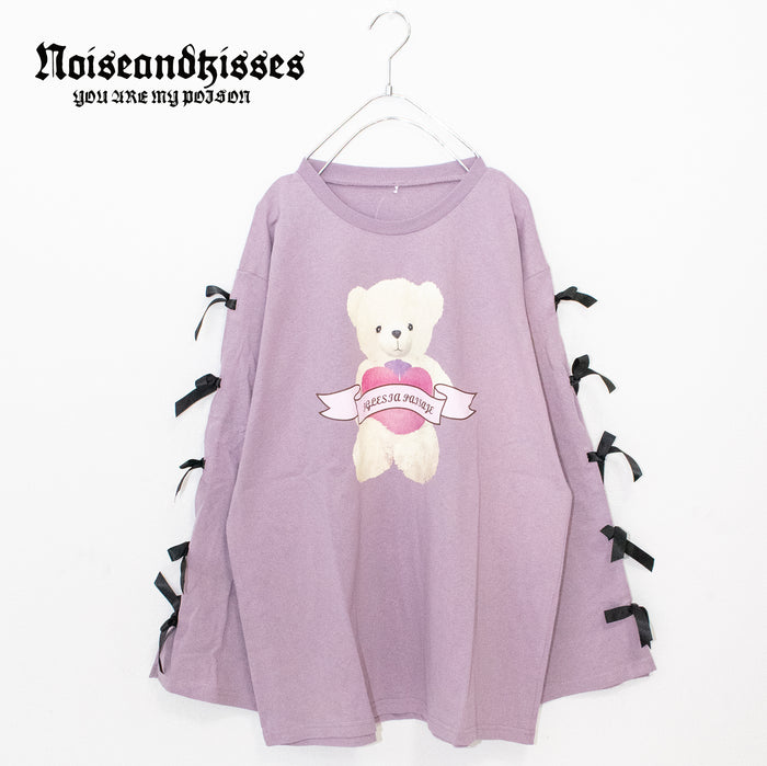 Heart Teddy Sleeve Ribbon L/S T-shirt (3 color)