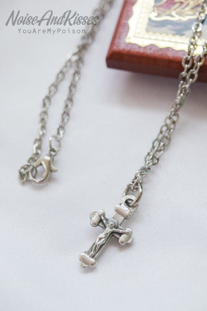 Limited Italy Saint Medal Necklace (Tiny Cross)