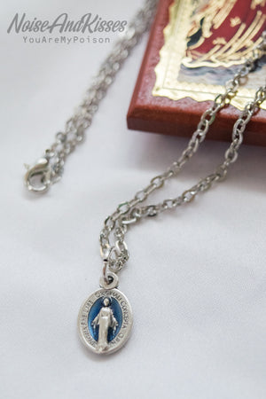 Limited Italy Saint Medal Necklace (Tiny Maria Blue)