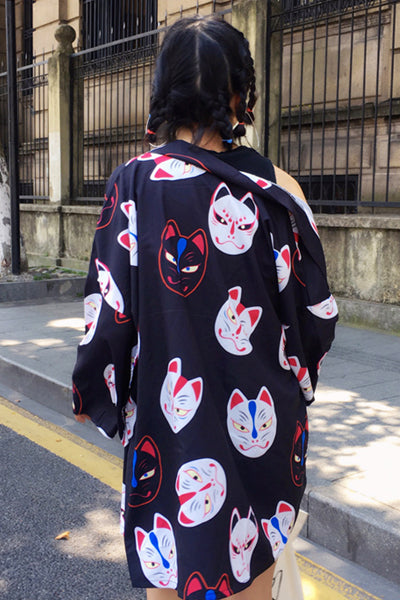 All-Over Kitsune Kimono Cardigan (Black) - YOU ARE MY POISON