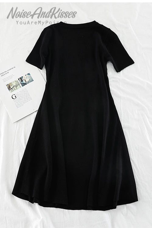 Knit Line Ring Dress (Black)