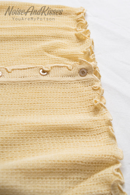 See-Through Light Frill Cardigan (Yellow)
