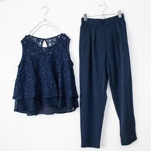 Lace Top And Pants Set (2 color)