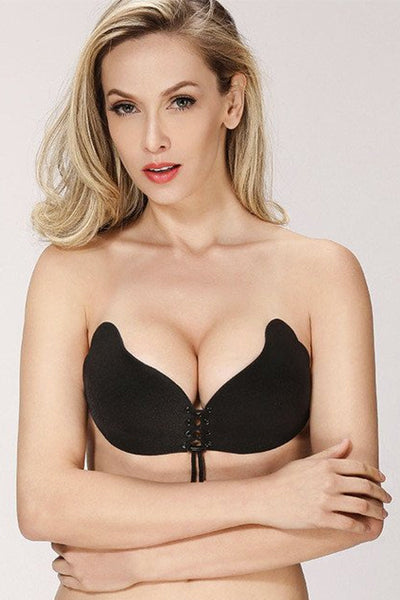 Lace Up Strapless Bra (Black)