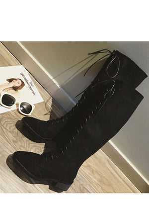 Suede Lace-Up Long Boots (Black) - YOU ARE MY POISON