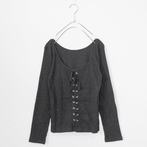 2WAY Lace Up Rib L/S Top (2 color)