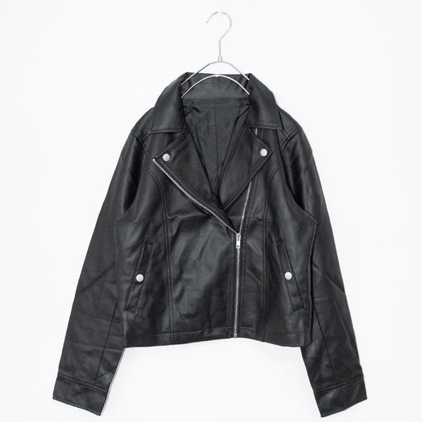 Fake Leather Double Riders Jacket (Black)