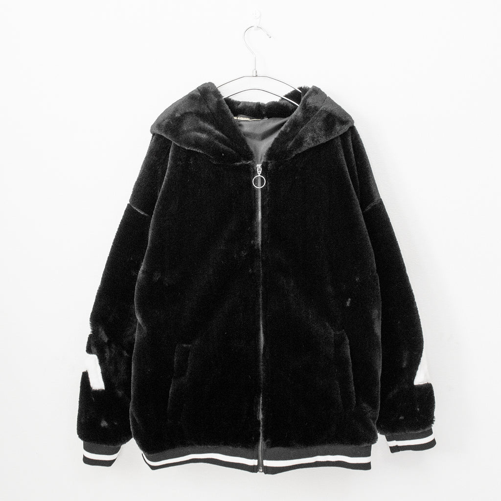 Line Fake Fur Hoodie (2 Color)