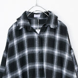 Plaid Check Shirt Long Dress (Black)