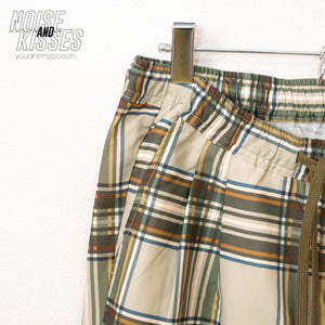 Plaid Check Printed Wide Pants (Beige)