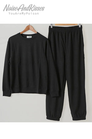 Mens Sized Sweatshirt Pants Set Up (Black)