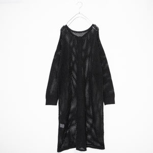 Mesh Knit Long Cardigan (Black)
