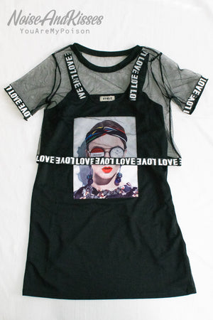 Photo Tank And Mesh T-shirt Set (2 color)