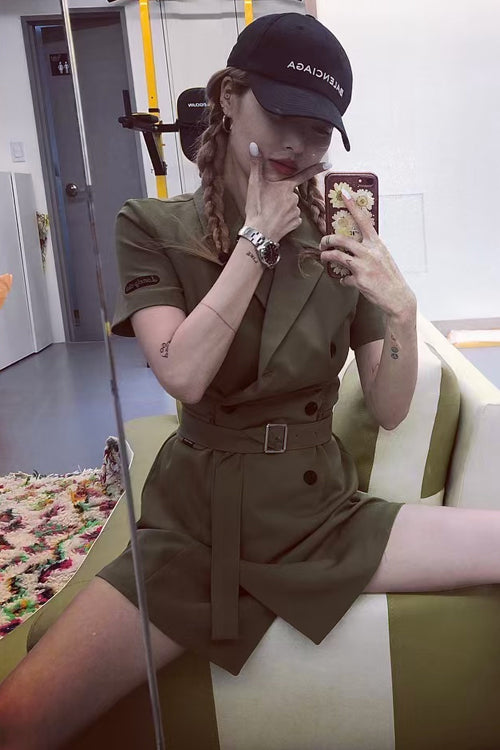 Military Trench Mini Dress (Green)