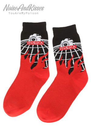 MISHKA Crew Socks (Black/Red) MAW193304