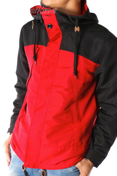 Bicolor Mens Mountain Hoodie Jacket (Red/Black)