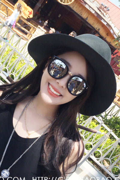 Black Frame Simple Sunglasses (Black)