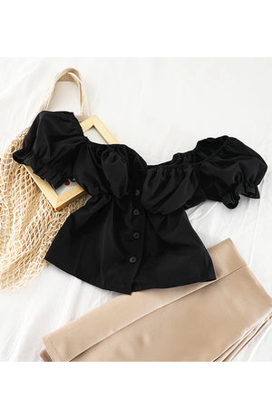 Off Shoulder Frill Top (Black)
