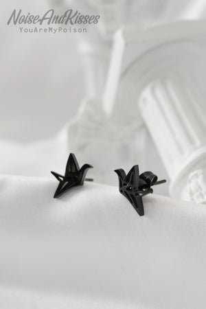 Black Point Stud Pierce (Origami Crane)