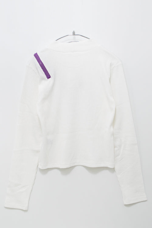 One Shoulder Zipper Logo L/S Top (4 color)