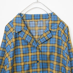 Open Collar Volume L/S Shirt (Blue Plaid)