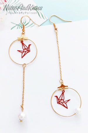 Origami Crane Pearl Pierce (Gold)