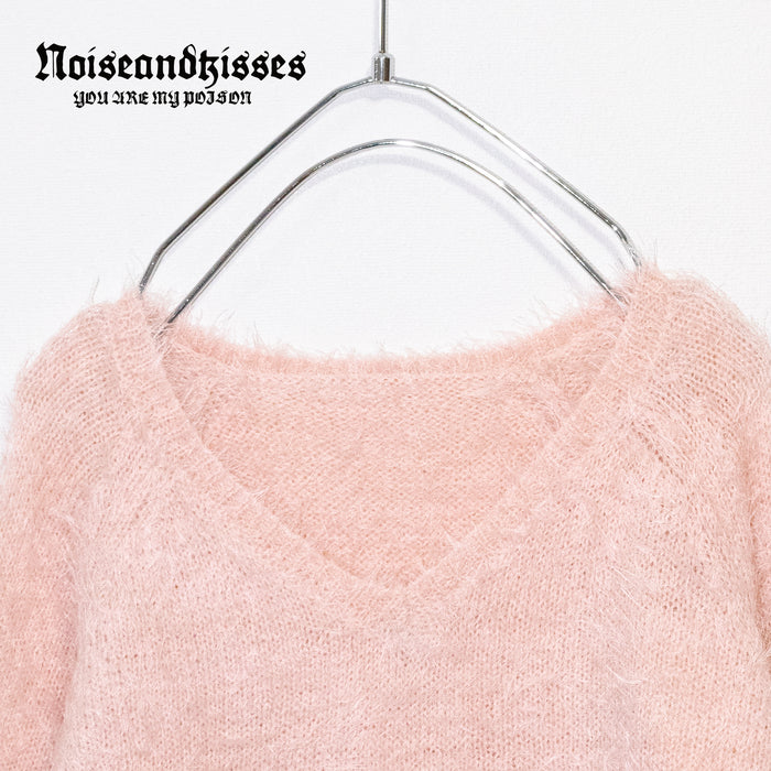 V-neck Shaggy Knit Top (Pink)