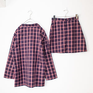 Pink Check Jacket And Skirt Set
