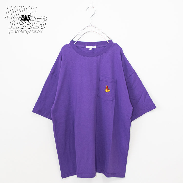 Slice Of A Pizza Embroidery Pocket BIG T-shirt (2 color)