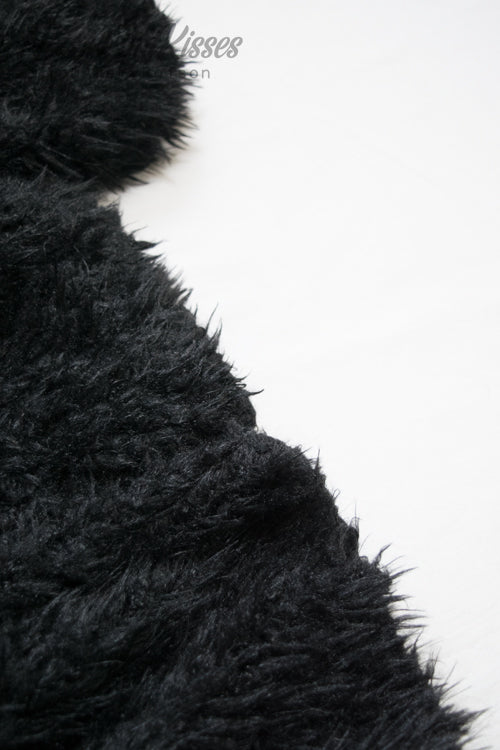 Poodle Fur Balloon Sleeve Cardigan (Black)