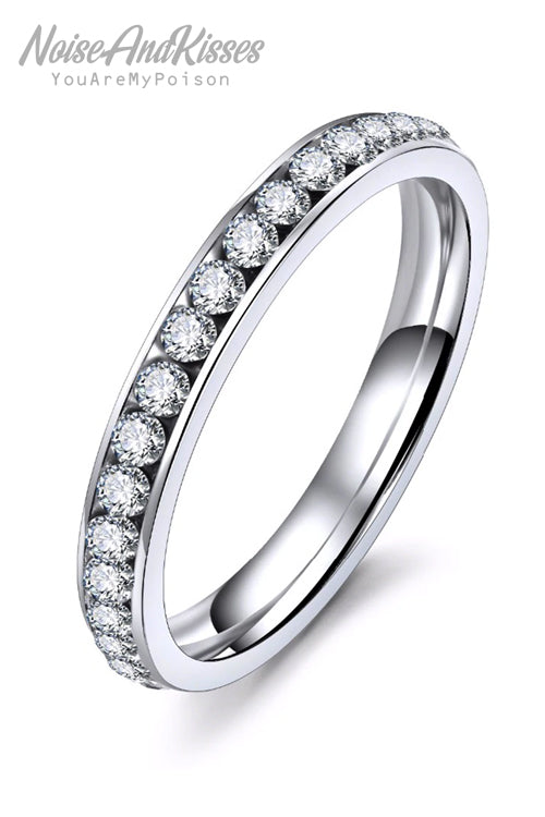 Stainless Steel Rhinestone Ring (Silver)