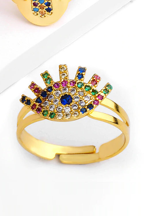 Rhinestone Eye Ring II (Gold)
