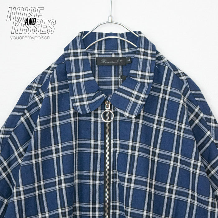 Zip-Up Oversized S/S Shirt (Blue)