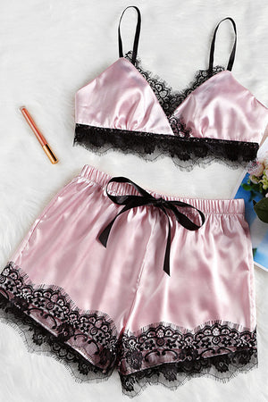 Satin Lace Pajama Set (2 color)