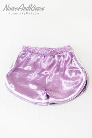 Side Line Satin Sporty Short Pants (Lavender)