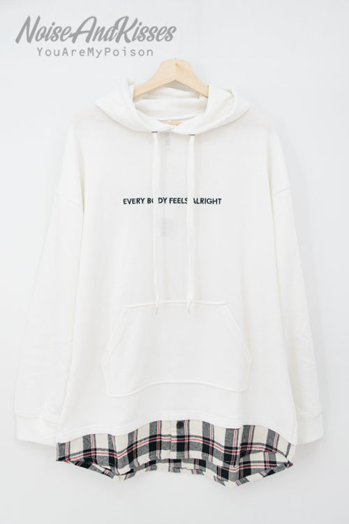 Fake Layered Shirt Hoodie (2 color)