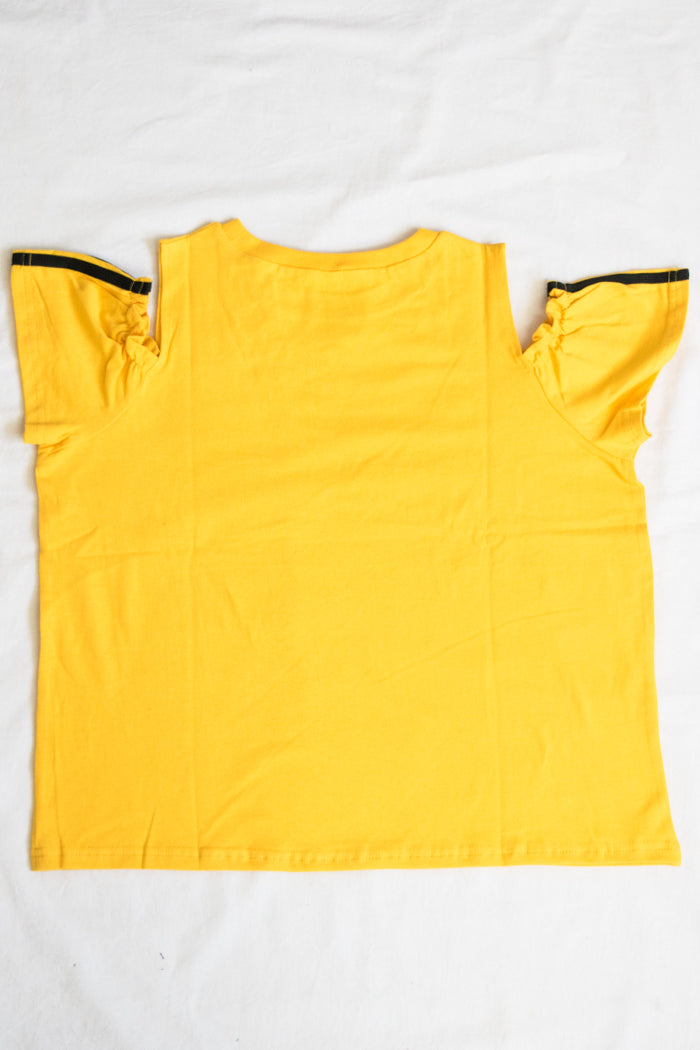 Shoulder Opened Frill Sleeve T-shirt (3 Colors)