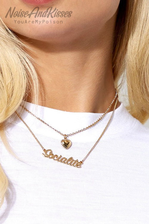 Skinnydip Socialite Heart Necklace (Gold)