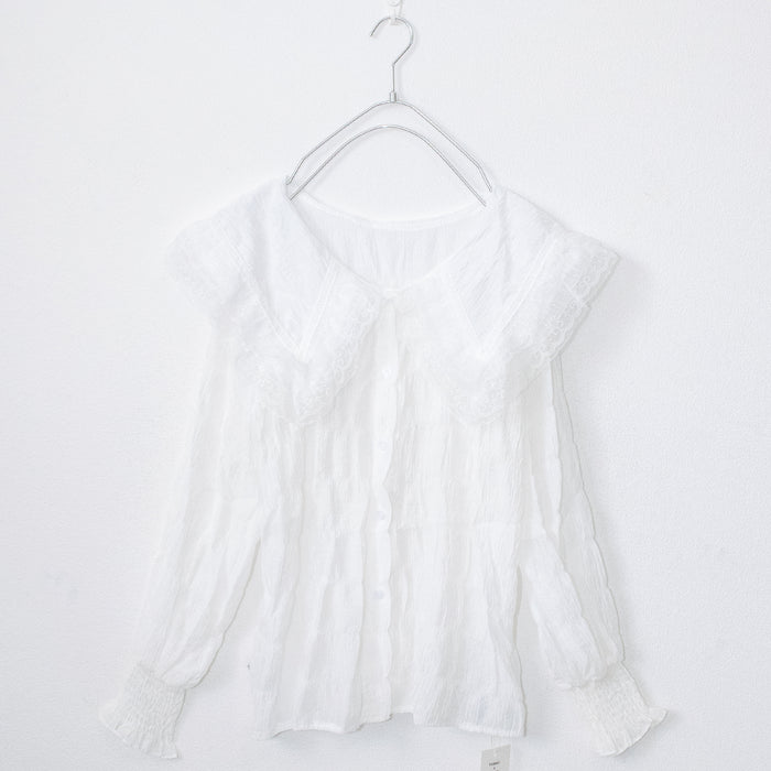 Big Collar Chiffon Frill Blouse (White)