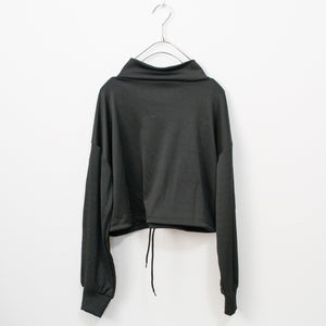 Stretch Sporty L/S Zipper Top (Black)