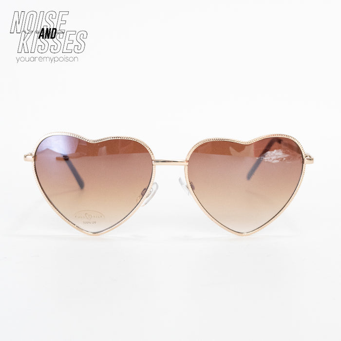 Heart Sunglasses (Gold x Brown)