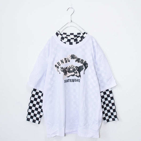Angel T-shirt And Checker L/S Top Set (White)